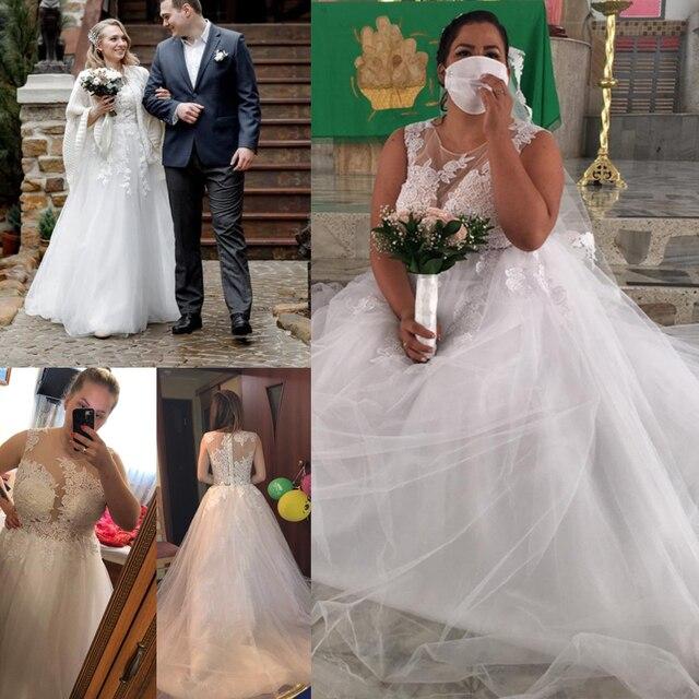 LORIE 2020 Scoop Lace Applique A Line Wedding Dresses Sleeveless Tulle Boho Bridal Gowns Long Train Elegant Princess Dresses 6