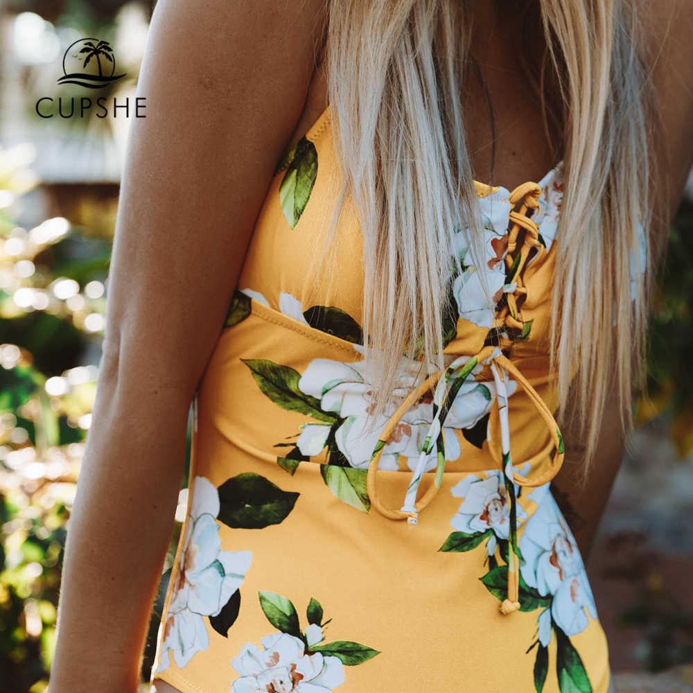 CUPSHE желтый цельный купальник с цветочным принтом, Женский Регулируемый Монокини на шнуровке, купальные костюмы 2019, женский купальник в стиле бохо