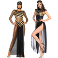 Женский вечерний костюм Клеопатра, костюм для косплея, костюм египетской королевы, костюм золотого цвета для Хэллоуина