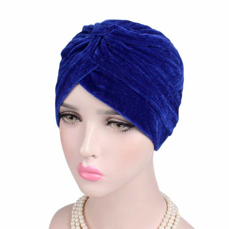 New Fashion Neon Casual Bandanas Winter Warm Double Stretch Velvet Turban Headwrap Turbante Hat Women Hijab Headwear Knot Caps