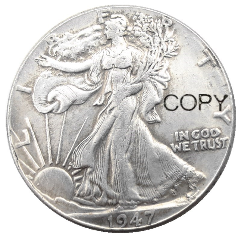 US 1947 PD Walking Liberty Half Dollar Silver Plated Copy Coins