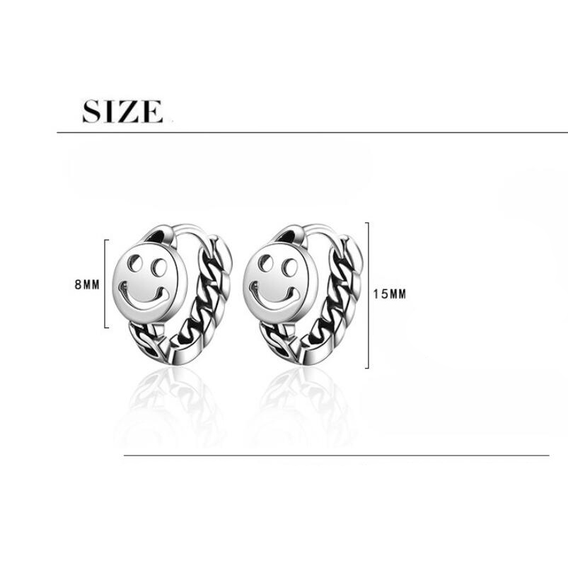 Купить с кэшбэком Vintage Happy Smiling Face Chain Hoop Earrings for Women Round Shape Punk Style Thai Silver Color Hollow Earring Party Jewelry