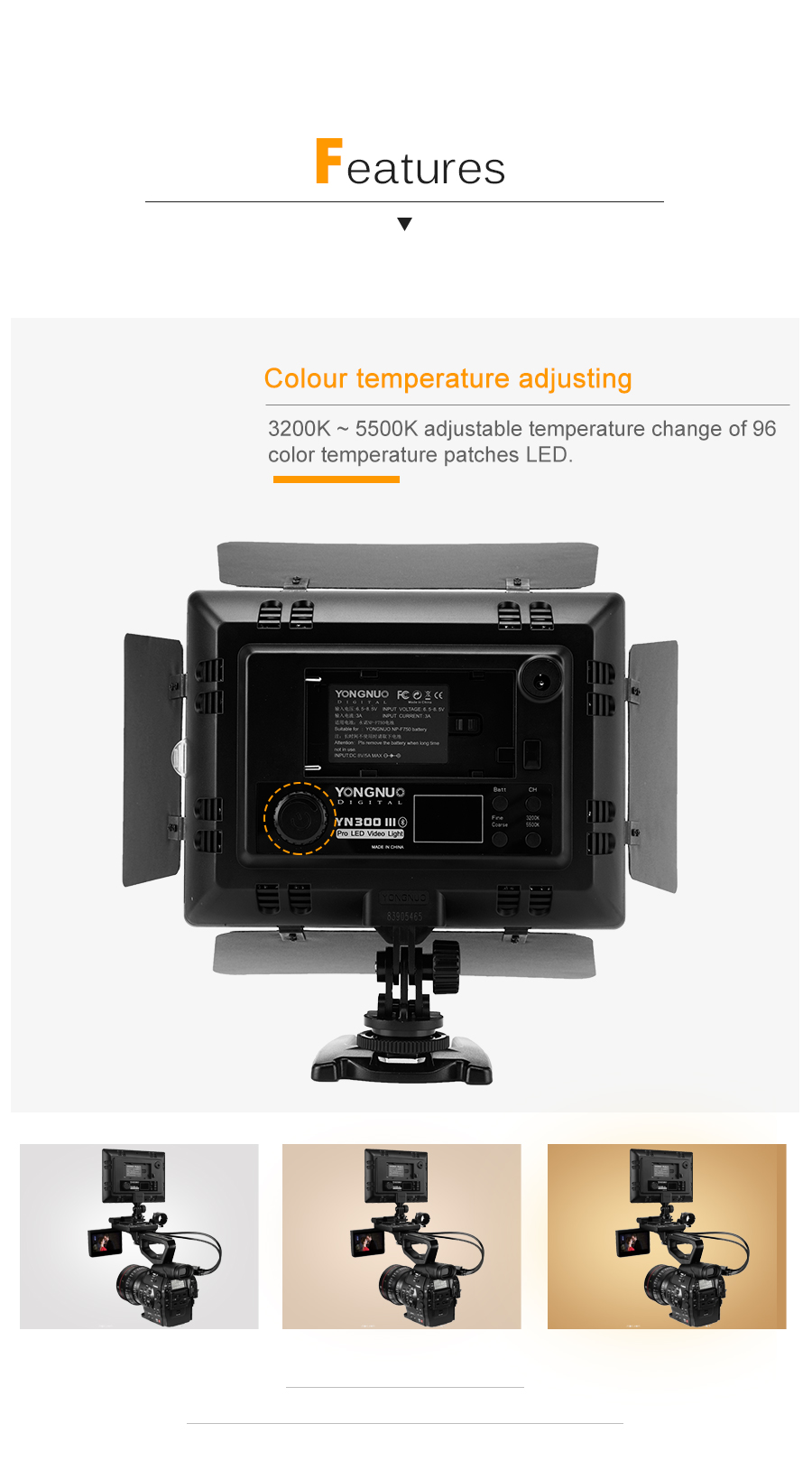 Hf61c4d2160084254bc2a1cca507dedbec Yongnuo YN300 III YN300III 3200k-5500K CRI95 Camera Photo LED Video Light Optional with AC Power Adapter + NP770 Battery KIT