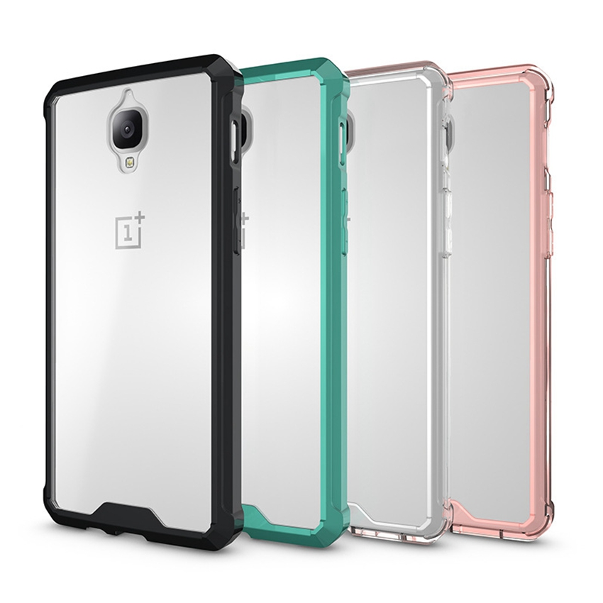Ultra Slim Hybrid Cover Air Cushion Technology Estuche con panel trasero transparente transparente Funda a prueba de golpes Shell para Oneplus 3 / 3T