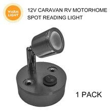 12V Bookcase Light Adjustable Spot Lamp 100LM LED Warm Reading Switch Light RV Camper
