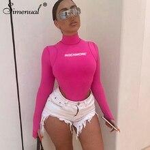 Simenual Sexy Bodycon Letter Print Bodysuits Women Long Sleeve Fashion 2019 Pink