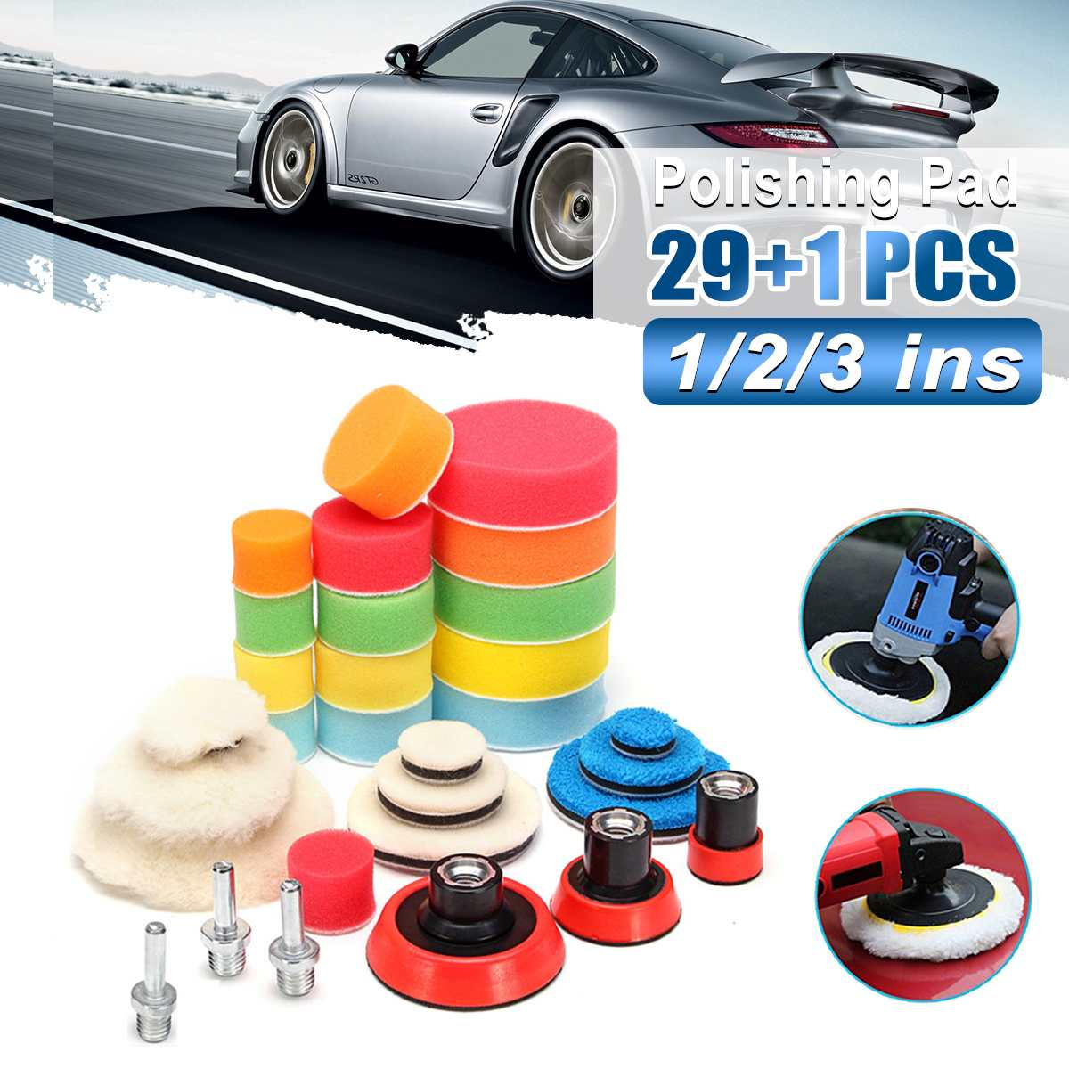 Durable 30Pcs Buffer Pad Set 1/2/3 Inch Auto Car Polishing Pad Kit For Car Polisher + Drill Adapter M14 Power Tools Accessories