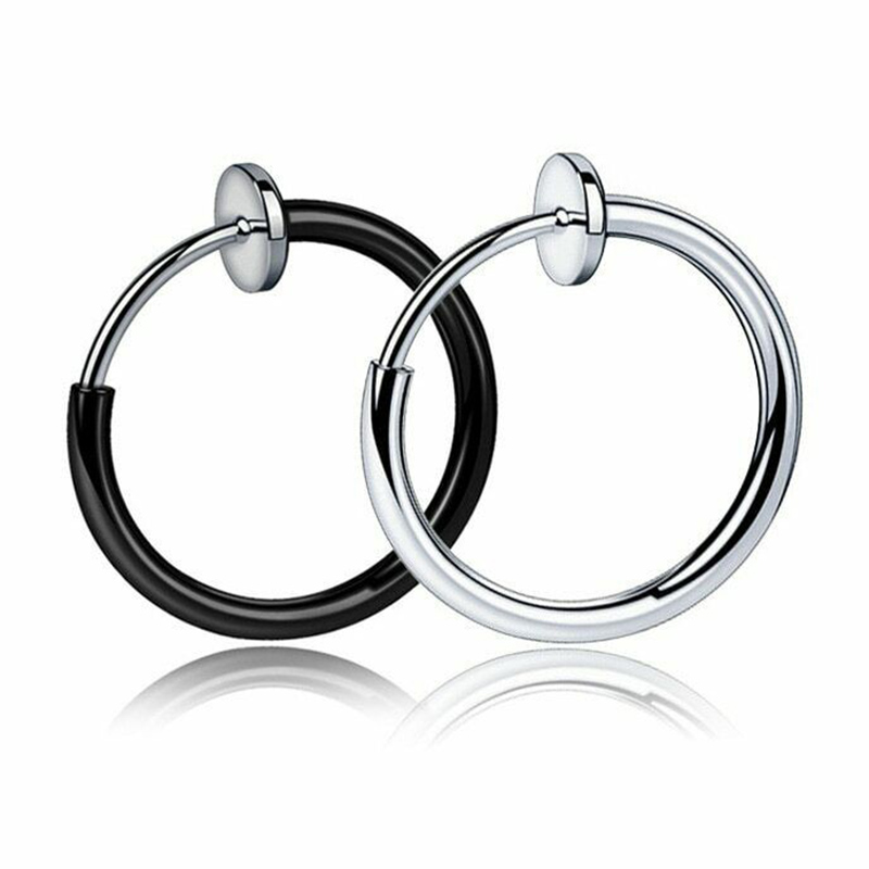 Hot Retractable Stainless Steel Simple Round Circle Earrings No Need Piercing Men Women Classic Hip-Hop Style Hoop Earrings