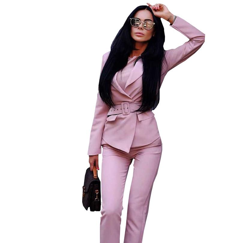 TAOVK Women Blazers Pants Suits Elegant Slim Long Sleeve Sashes Jacket And Trousers Office Ladies Work Wear Sets