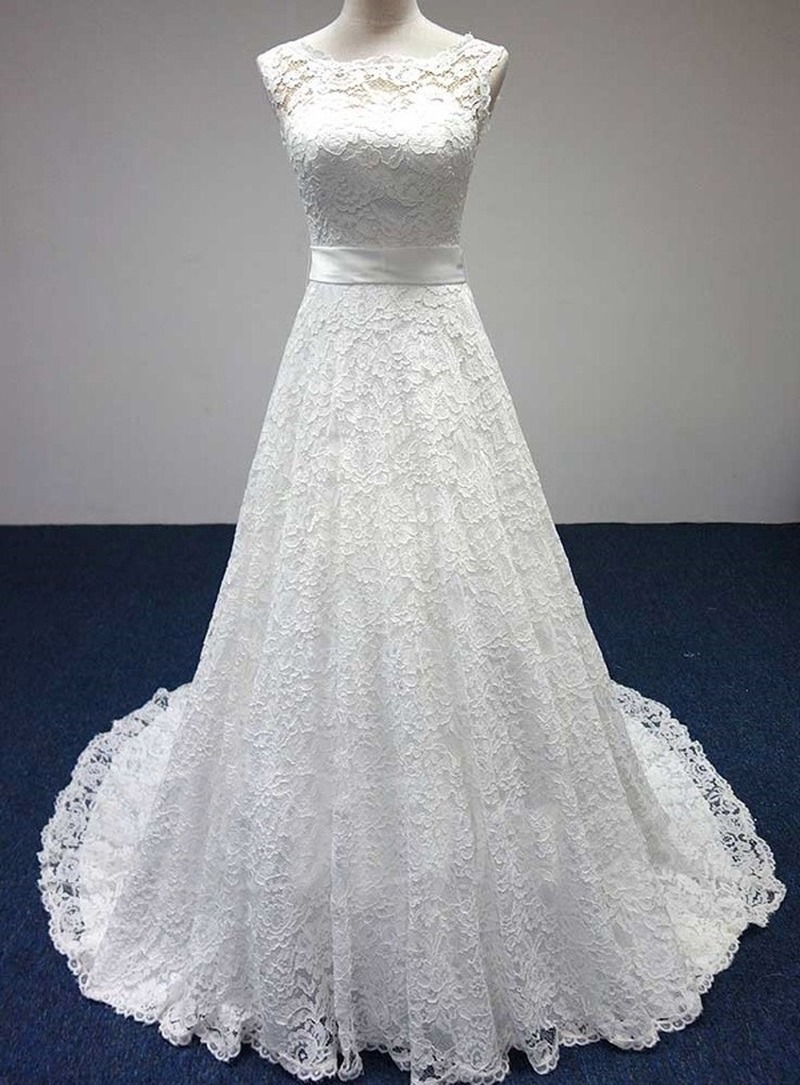 Robe De Mariee Simple Lace Wedding Dress A-Line Lace Scoop Sleeveless Backless Sweep Train Wedding Dress Vestidos De Novia