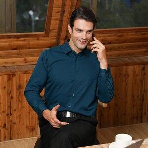 Image 2 - גברים רגילה fit של ארוך שרוול למתוח טיפול קל חולצת פורמליות משרד עסקי/עבודה ללבוש במבוק סיבים מוצק חברתי שמלת חולצות