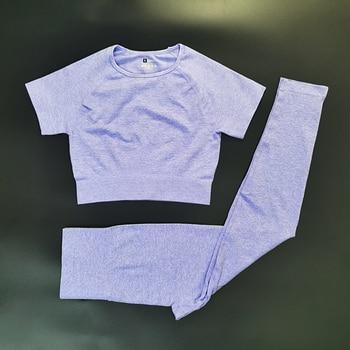 4PCS Seamles Sport Set Women Purple Two 2 Piece Crop Top T-shirt Bra Legging Sportsuit Workout Outfit Fitness Wear Yoga Gym Sets 36