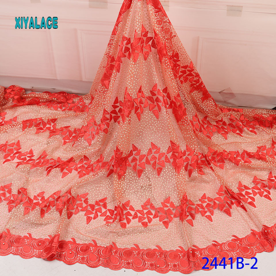 3D Laces 2019 High Quality, Beaded Nigerian Lace Fabric 2018, Embroidery French Tulle Lace With Stones For Bridal YA2441B-1