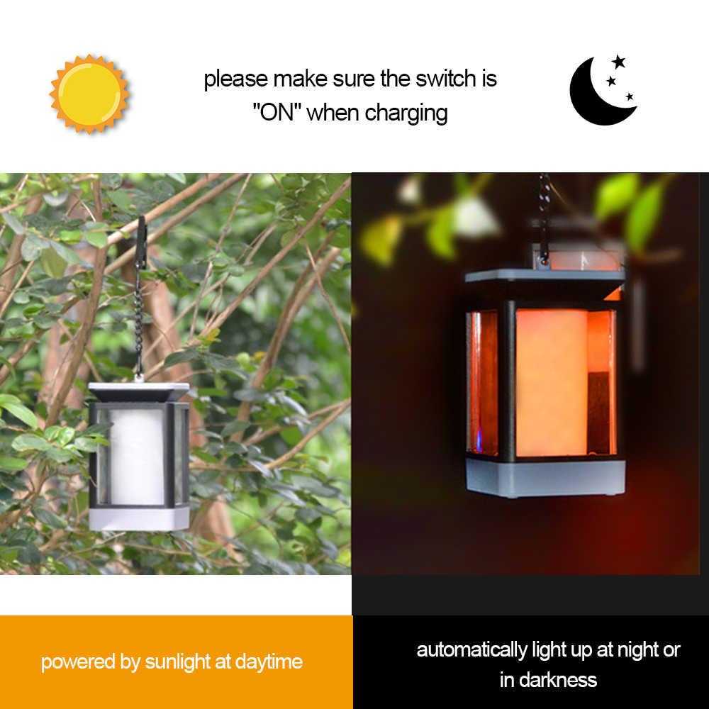 Luces Solares Led de llama parpadeante farol solar para exteriores IP65 impermeable, lámpara colgante alimentada por Soalr para camino de jardín
