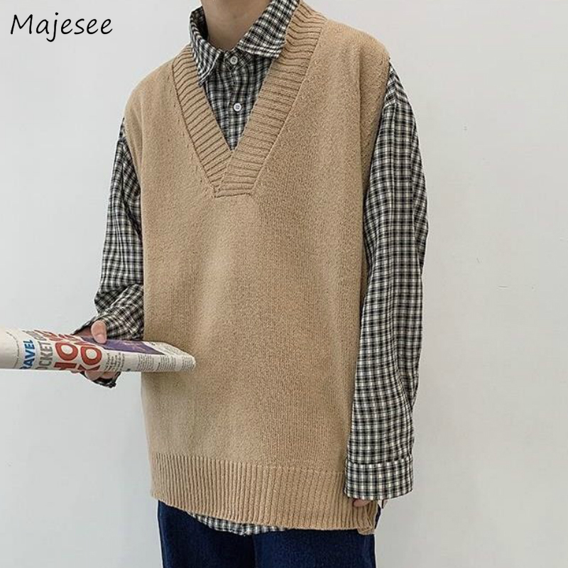 Sweater Vest Men Solid V neck Shrug Chic Stylish Sleeveless Mens Vests  Streetwear Korean Style Simple All match Knitted Couples|Vests| - AliExpress