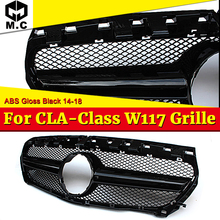 W117 A45 Style Front Grille ABS Glossy Black For MercedesMB CLA-Class CLA180 CLA200 250 CLA45 Look Grill without sign 14-16