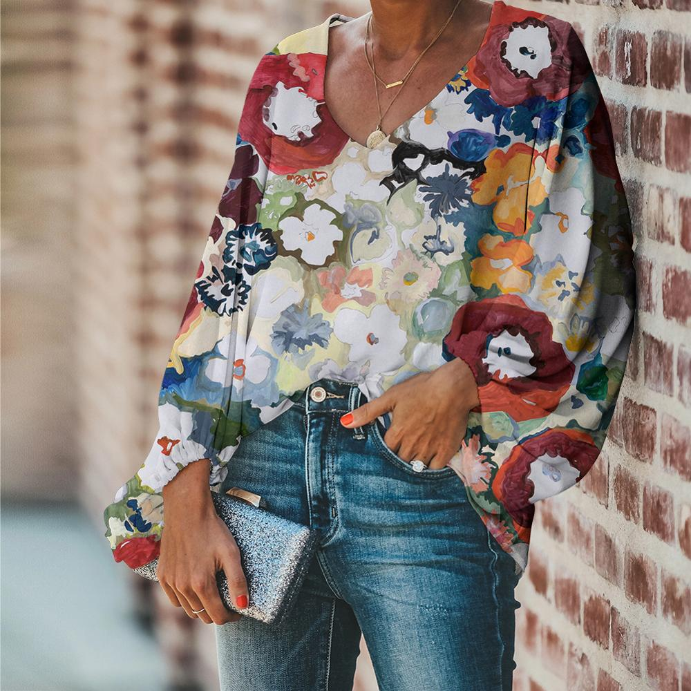 FORUDESIGNS Large Size Colorful Flower Pattern Tops and Blouses Casual Loose V-Neck Shirts Female Clothes 7
