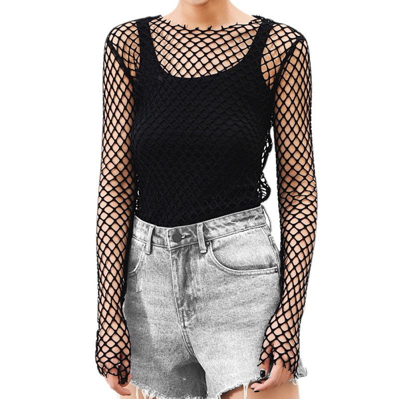 Women Sexy Beach Clothing See Through Perspective Sheer Mesh Fishnet T-Shirt Bodycon Long Sleeve Tops  Party Club Tops