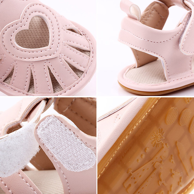 Leather Sandals for Baby Girl Soft Soled Shoe 1Pair Heart Pattern Toddler Girl Sandals Non-slip Baby Girl Summer Sandals Shoe