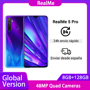 Глобальная версия Realme 5 Pro 8G 128G Смартфон Snapdragon 712AIE 48MP Quad Camera 6,3 ''мобильный телефон VOOC 20W 4035mAh в наличии