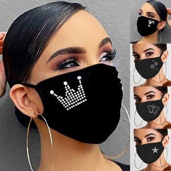 1pcs Shiny Mask Women Reusable Outdoor Drill Breathable Fashion Ice Cotton Windproof Mask Mondmasker Party Face Mask Mascarilla