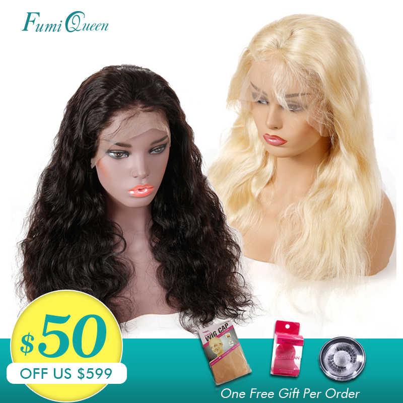 Бразильские волнистые волосы человеческие 13x6 Синтетические волосы на кружеве парики с детскими волосами натуральный Цвет/613 блонд парики Remy Али FumiQueen волосы