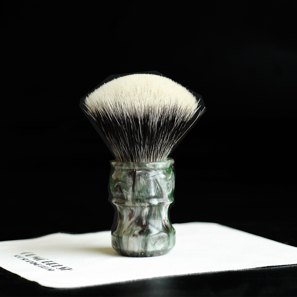 Image 5 - OUMO BRUSH  2019/8/1 CHUBBY  Art shaving brush with SHD fan Manchuria badger knot gel city 26MM-in Shaving Brush from Beauty & Health
