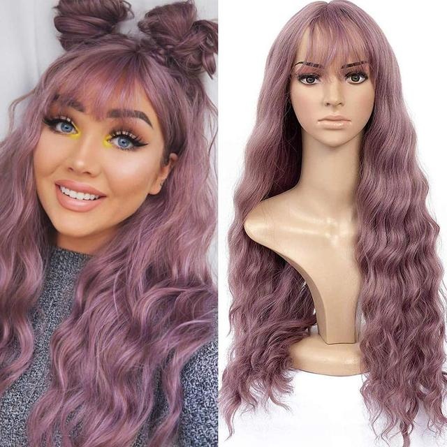 Blonde Unicorn Long Mix Purple Womens Wigs with Bangs Water Wave Heat Resistant Synthetic Wigs for Women African American 1
