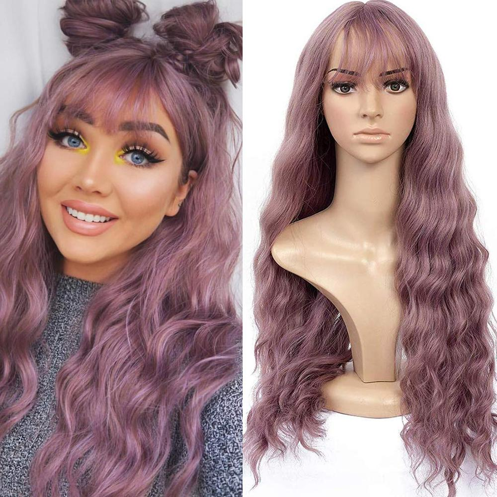 Blonde Unicorn Long Mix Purple Womens Wigs With Bangs Water Wave Heat Resistant Synthetic Wigs For Women African American