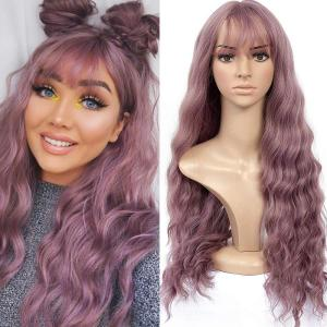 Blonde Unicorn Long Mix Purple Womens Wigs with Bangs Water Wave Heat Resistant Synthetic Wigs for Women African American(China)