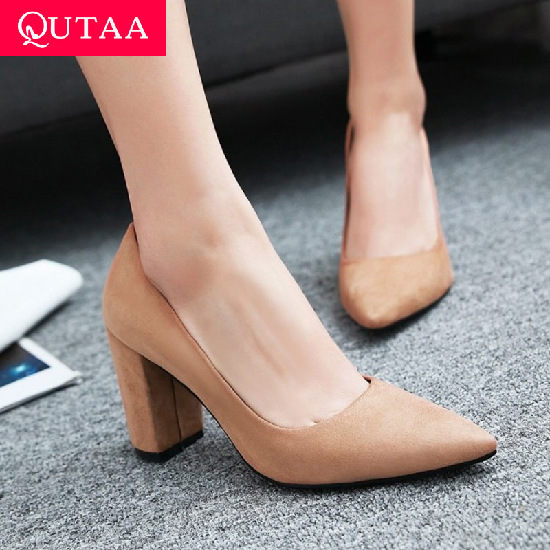 QUTAA 2020 Women Pumps Flock Fashion Square High Heel Women Shoes Platform Pointed Toe Elegant Casual Wedding Shoes Size 34-43
