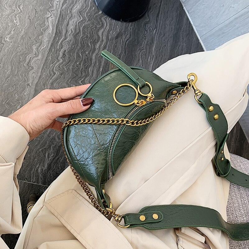DAUNAVIA Handbag And Purses Ring Chain Crossbody Bag For Women Small Shoulder Messenger Bags Fashion Quality Leather Lady Travel