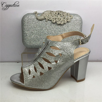 Latest silver partyset matching lady high heel sandal shoes and purse bag set for lady GY43, heel height 8cm
