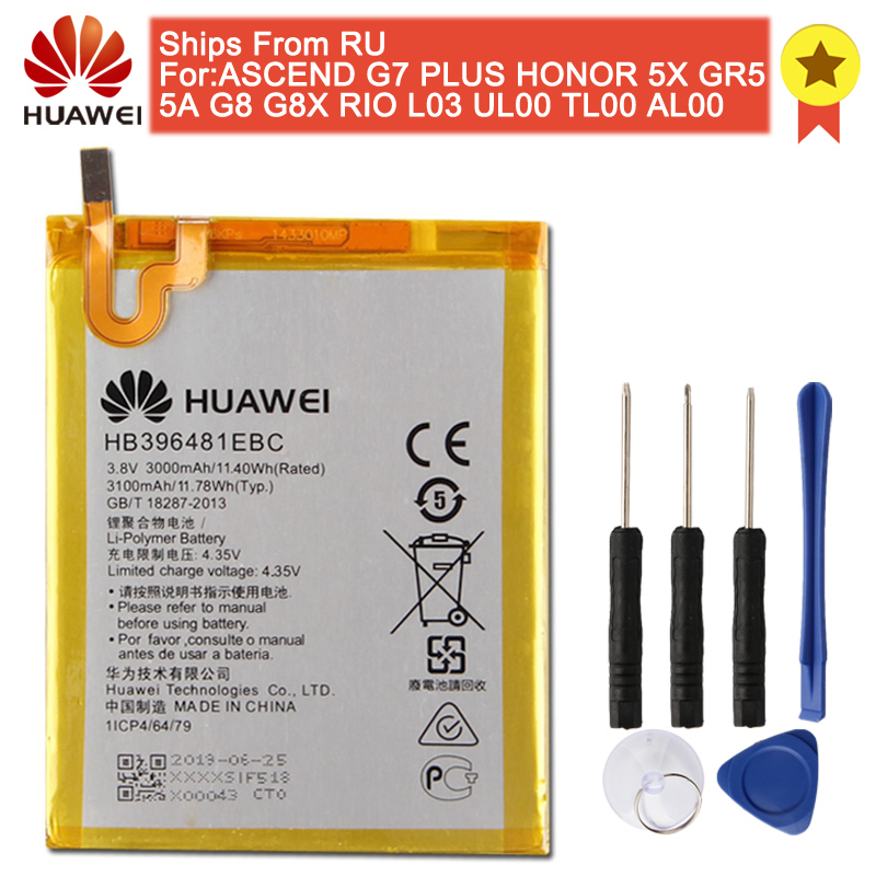 Original HB396481EBC Phone Battery For Huawei ASCEND G7 PLUS HONOR 5X 5A G8 G8X 5C 7C 8 9 10 Lite Pour Smart 2019 Y5 C8816