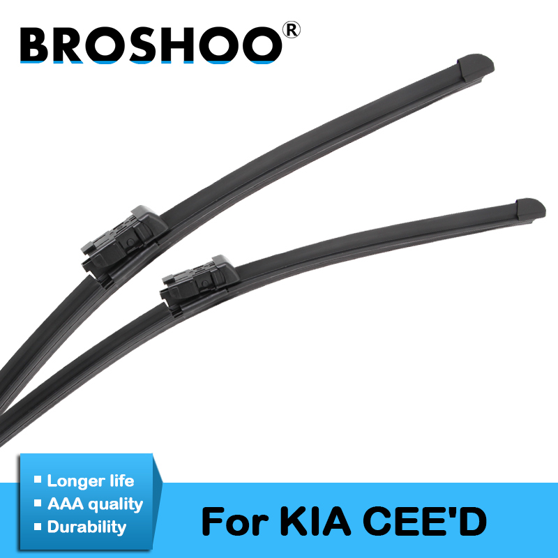 BROSHOO Car Windscreen Wiper Blade Natural Rubber For KIA CEED CEE'D 2006 2007 2008 2009 2010 2011 2012 2013 2014 2015 2016 2017
