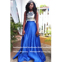 African Women Long Prom Dresses 2020 Silver Sequined Top and Royal Blue Satin Skirt Vestido De Festa Evening Dress Gown