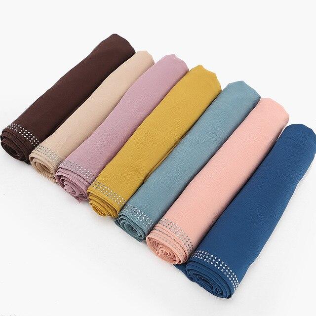 2020 New Summer Solid Color Pink Black White Chiffon Hijab Scarf Foulard Femme Glitter Rhinestone Islamic Muslim Head Scarves