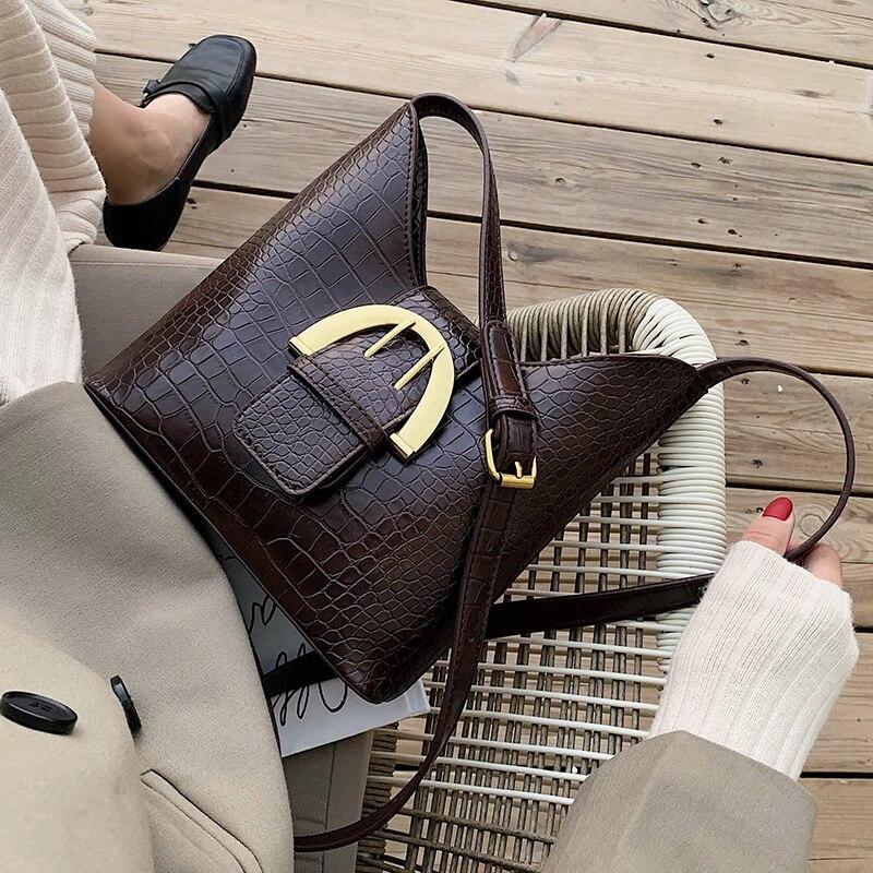 Vintage PU Leather Bucket Bags For Women 2020 Small Solid Color Crossbody Bag Female Shoulder Messenger Bag Handbags