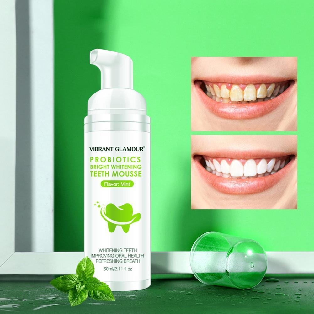 60g Teeth Whitening Mousse Remove Plaque Stains Fresh Tool Brighten Dental Toothpaste Care Teeth Oral Breath Z0F1