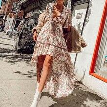 Boho Maxi Dress Summer Floral Long Beach Dress Sexy A-Line B