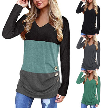 2021 Women Long Sleeve Shirts Loose Button Trim Blouse Patchwork V-Neck Tunic Pullover Tops свитшот женский