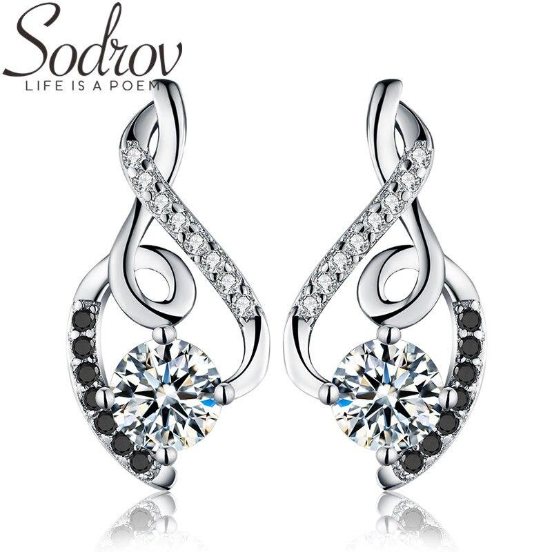 SODROV Classic 100% Genuine 925 Sterling Silver Female Earring Fine Jewelry Vintage Wedding Stud Earrings For Women T006