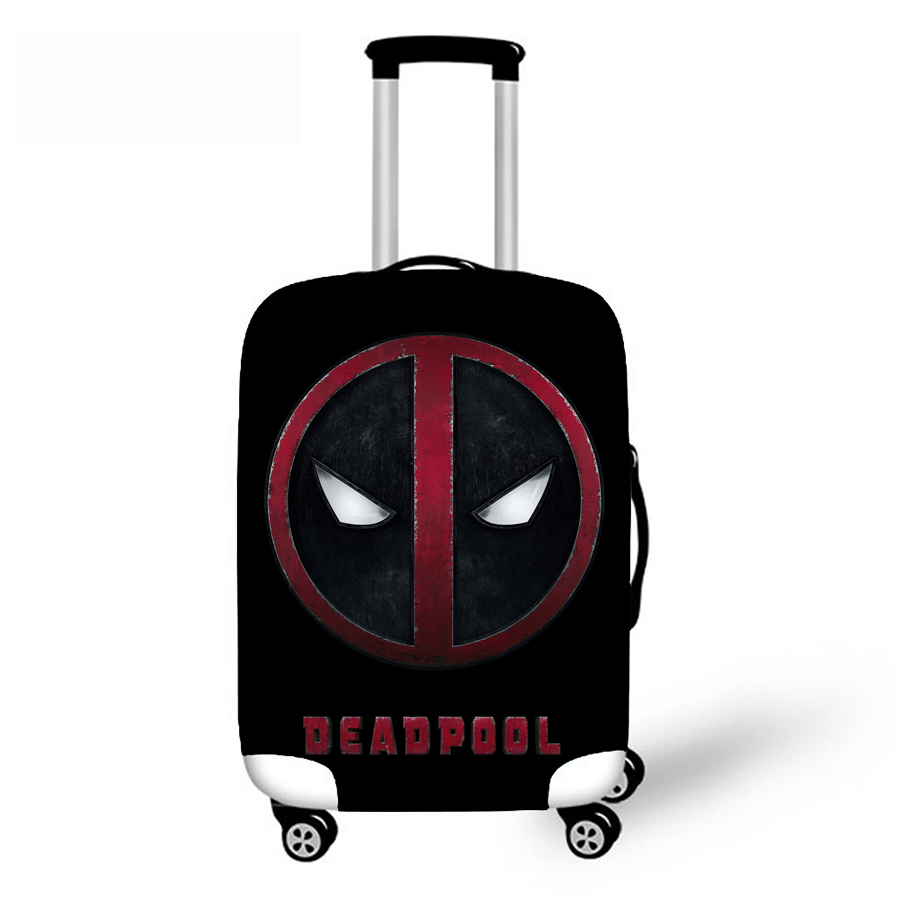 Superhero Deadpool Printed Trolley Case Cover Travel Accessories Elastic Fabric Luggage Protective Cover For 18-30