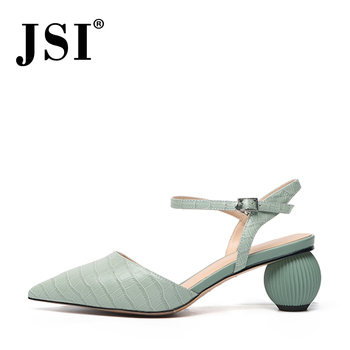 JSI Office Fashion Women's Sandals Pointed Toe High Quality Cow Leather Ankle Buckle Strap Shoes Alligator Pattern Sandals JO478