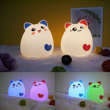 LED Silicone supercat night light touch motion lamp bedside USB light  gift for baby child touch sensor colorful sleep light