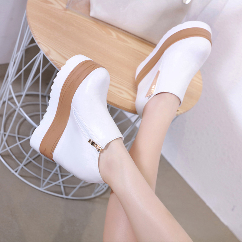 2019 spring and summer new women's Korean casual shoes muffin thick-soled wild white shoes 13cm super high-heeled single shoes