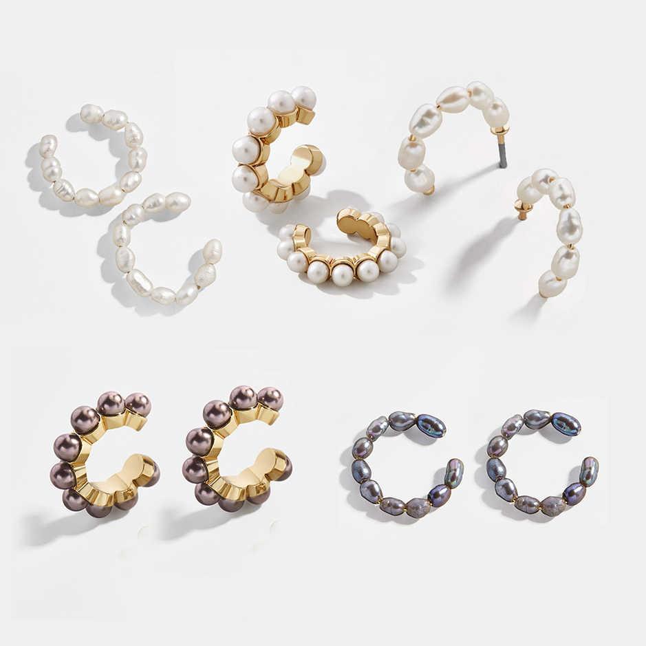 Elegant ไข่มุกหูสำหรับผู้หญิงอินเทรนด์สีขาววงกลมสีดำ Earclips หญิง STACKABLE Cuff ต่างหูโดยไม่ต้องเจาะ Bijoux
