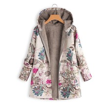 Fashion Womens coat Winter Warm women Outwear Floral Print Hooded Pockets Vintage Oversize Coats