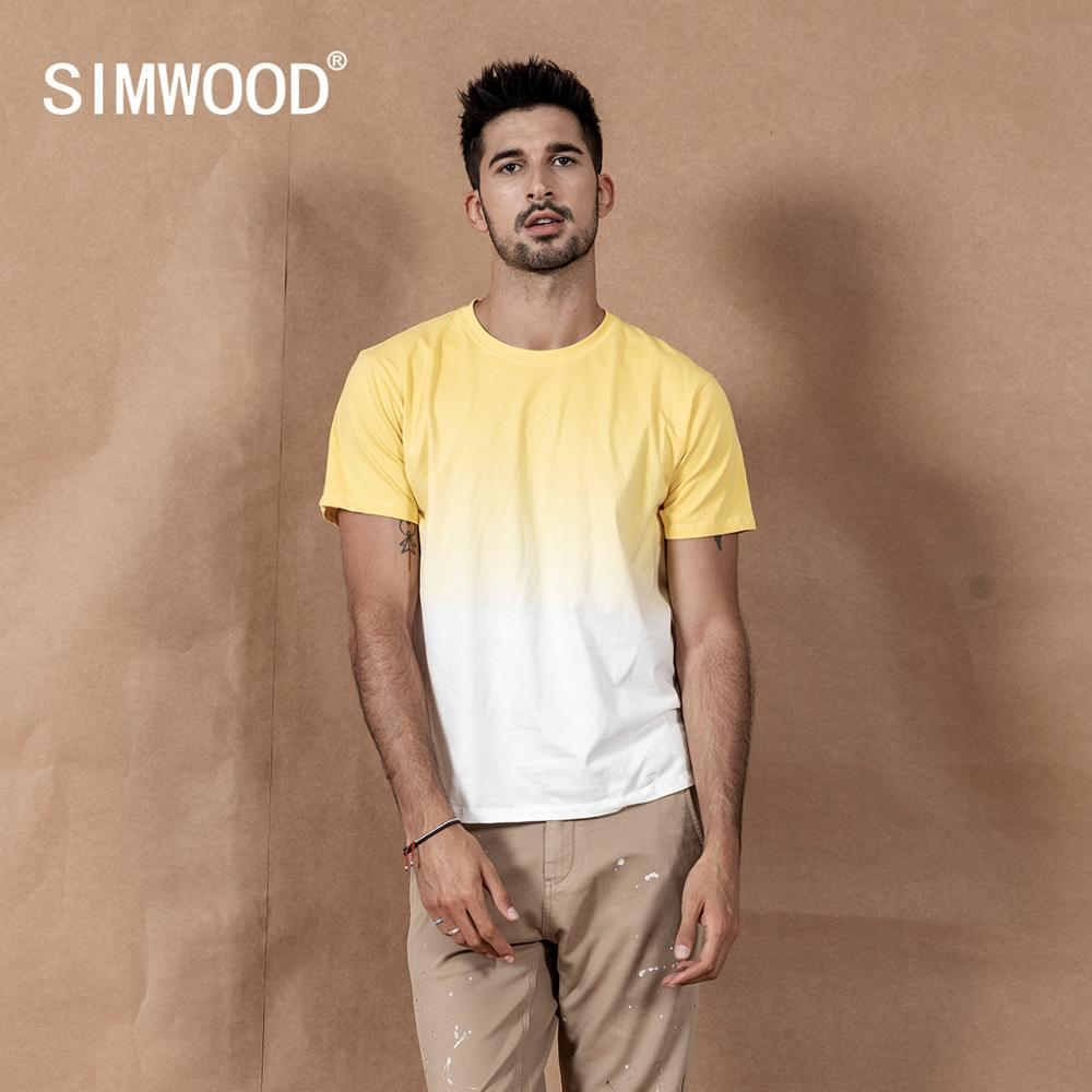 SIMWOOD 2020 Summer New Hang Dye T-shirt Contrast Color 100% Cotton Tops Causal Breathable Plus Size Tees SI980533