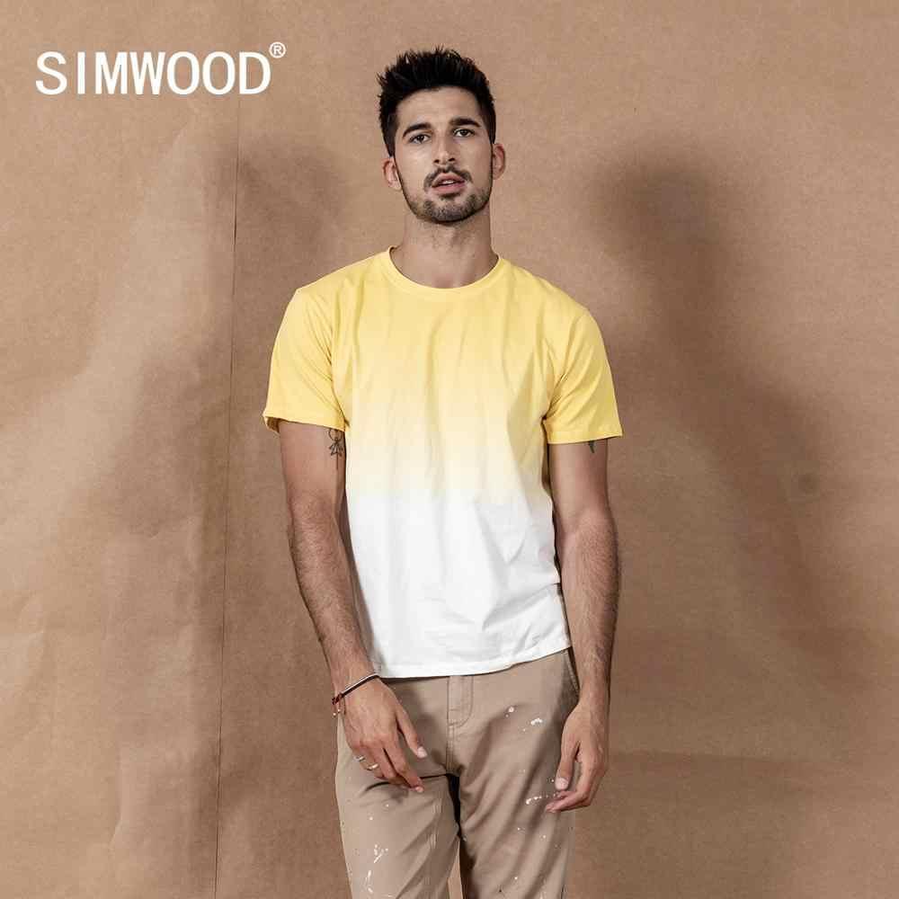 Simwood 2020 Musim Panas Baru Hang Pewarna T-shirt Warna Kontras 100% Atasan Katun Kasual Bernapas Plus Ukuran Tee SI980533